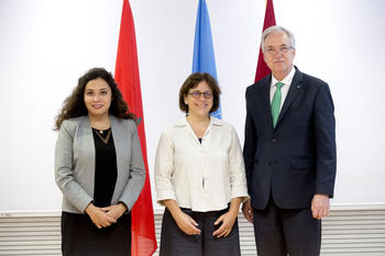 FAO Juin 2019 /1 - Isabelle Rosabrunetto, Director General of the Ministry of Foreign Affairs and Cooperation, surrounded by Imane Louati, Head of Multilateral Affairs at the Moroccan Ministry of Agriculture, and Daniel Gustafson, FAO Deputy Director-General for Programmes. © DR